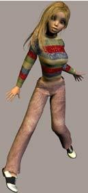Модель аниме девушки Sara в джинсах и джемпере для poser.